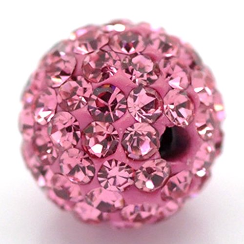 RUBYCA Pave Czech Crystal Disco Ball Clay Beads fit Shamballa Jewelry (20pcs, 10mm, Rose Pink) (Pink Charm Beaded)