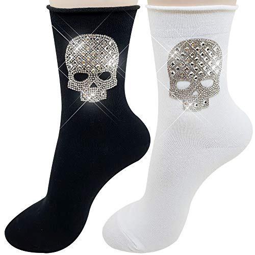 PearlyKelly Novelty Skull Glitter socks rhinestone socks,Metallic Women's Socks (2Pack) Shiny socks, bling bling, Sparkling socks, Retro socks, novelty socks, shimmer socks