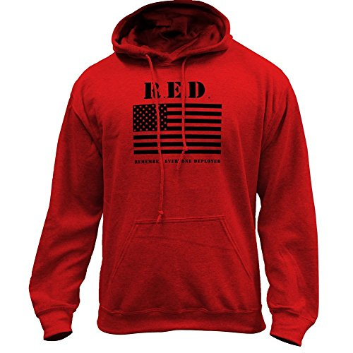 Remember Everyone Deployed RED - Flag Military Pullover Hoodie