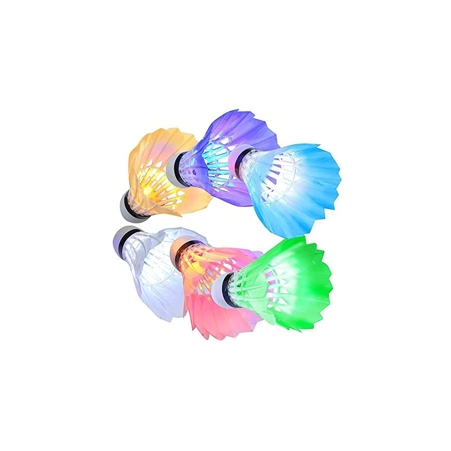 [6 Pack] InaRock LED Badminton Shuttlecock Dark Night Colorful Goose Feather LED Badminton Glow Birdies Lighting For Outdoor & Indoor Sports Activities
