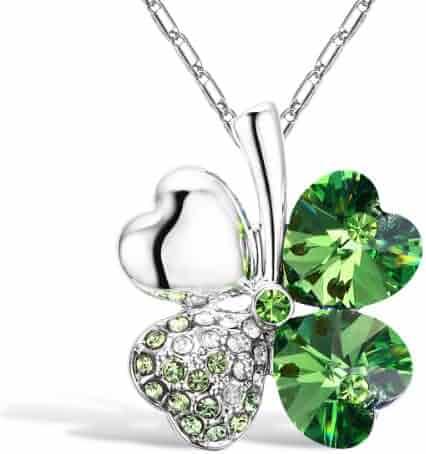Merdia Four Leaf Clover Heart-shaped Crystal Pendant Necklace 16