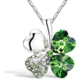"Merdia Crystal Four Leaf Clover Pendant Necklace with Chain for Women 16"" + 5"" Extender Green"