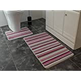 Purple Pink Grey Stripe 2 Piece Bath Mat Set. Available in 25 Colours by Rugs Supermarket