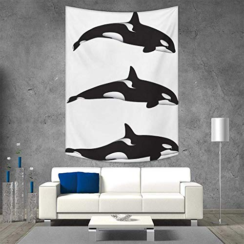 smallbeefly Sea Animals Wall Tapestry Three Orca Killer Whales in Different Illustration Black White Style Home Decorations Living Room Bedroom 60W x 80L INCH Black White