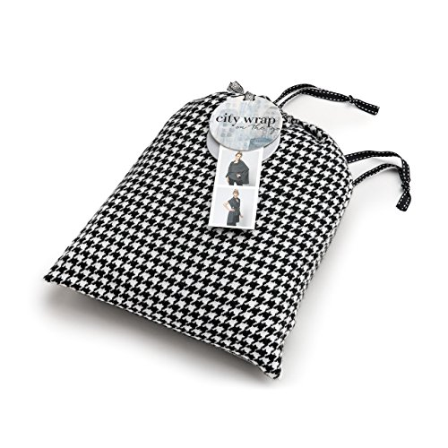 - Black White Houndstooth Woven Women's One Size Poly Blend Multiwear City Wrap on the Go