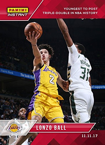- 2017-18 Panini Instant Basketball #36 Lonzo Ball Rookie Card Los Angeles Lakers - Youngest to Post Triple-Double in NBA History - Only 549 made!