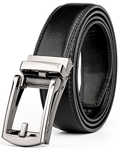 WERFORU Leather Ratchet Dress Belt for Men Perfect Fit Waist Size Up to 40