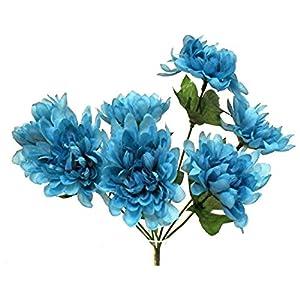 """13"""" Mum Bush Silk Wedding Flowers Bridal Bouquet Centerpieces Home Party Decorations 5 Mums 49"""