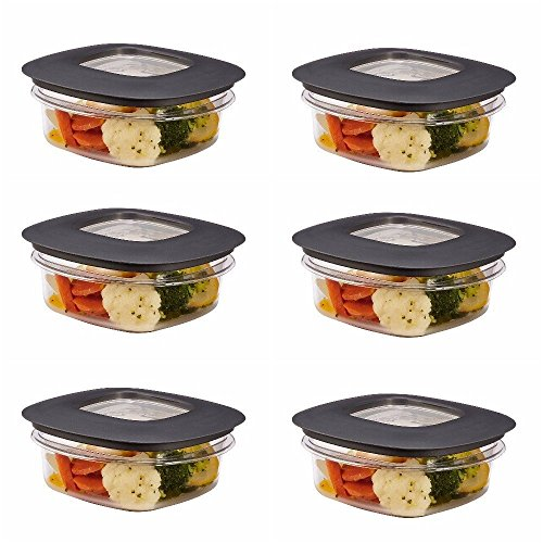 Rubbermaid Premier Food Storage Container, 1.25 Cup, Grey (6 Pack)