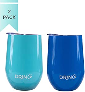 Drinco - 2 Pack Stainless Steel Wine Tumbler   Double Walled Triple Vacuum Insulated Mug with Splash Proof Lid For Hot & Cold Drinks   Aqua & Blue   Perfect for Camping & Traveling   BPA Free   12oz  