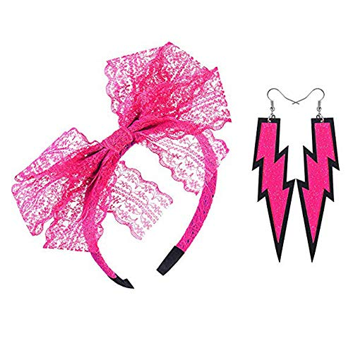 80's Lace Headband Costume Accessories for 80s Theme Party, No Headache Neon Lace Bow Headband, Set of 3(Rose)