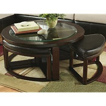 Attractive Roundhill Furniture Cylina Solid Wood Glass Top Round Coffee Table With 4  Stools