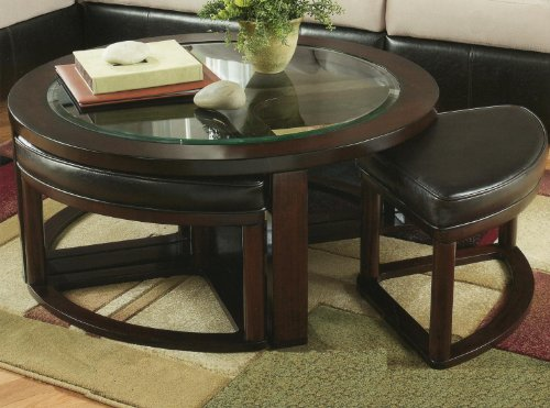 - Roundhill Furniture Cylina Solid Wood Glass Top Round Coffee Table with 4 Stools