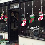 IceyDecaL Holiday Series Merry Christmas Gift Christmas Boots Glass Window & Wall Door Mural Decals, Removable Large Decorations Wall Sticker Paper for Home & Store