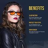 Blue Light Blocking Glasses - Swannies Gamer and Computer Eyewear - Filter Artificial Light for Deep Sleep - Digital Eye Strain Prevention - by Swanwick Sleep - an FDA Registered Company