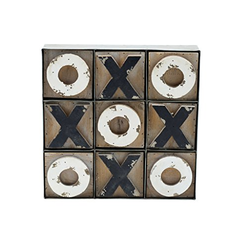 VIPSSCI Tic Tac Toe Wooden Block Set with Metal Tray Holder