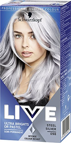 Schwarzkopf Live Ultra Bright or Pastel Colouration, Steel Silver Number...