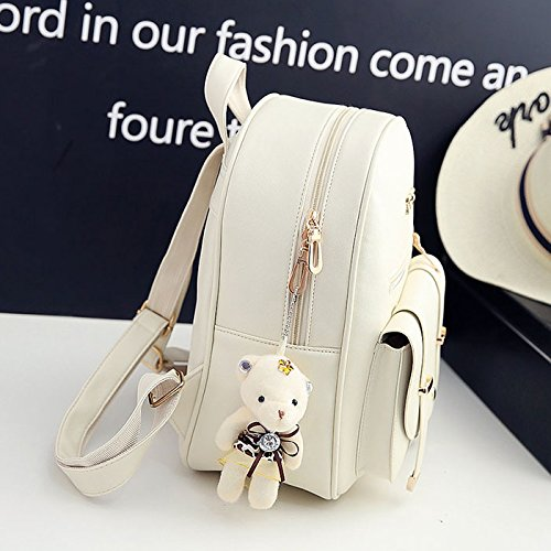 Backpacks Color Small Bag white Compound Bags for Solid creamy Backpack Women Shoulder PU Embossed Set Bagpack Fashion School Girl Leather SODIAL 5qgFz0xz