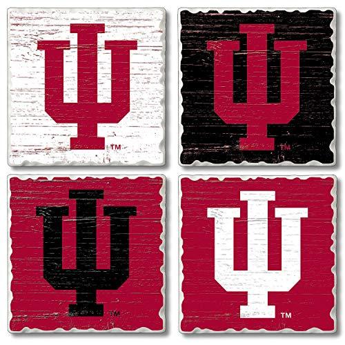 Square Collegiate Assorted Fan Coaster Set 4 Pack - Indiana ()