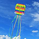 Giant 3D Parafoil Octopus Kite – 2017 New-Designed Rainbow Kite, No Rod Software Nylon Pocket Kite Easy to Fly, Cool Outdoor Flying Toy for Kids, Adults and Family Fun on the Beach, Including Kite Reel with 328 Yards String, Black Storage Bag and Kite Fl