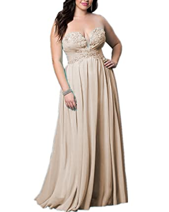 Olivias Beaded Appliques Strapless Prom Dresses Long Plus Size Bridesmaid Dresses Cheap 14w Champagne