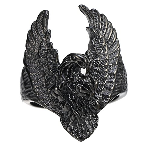 Black Stainless Steel Flying Eagle Rider Mens Ring Vintage -