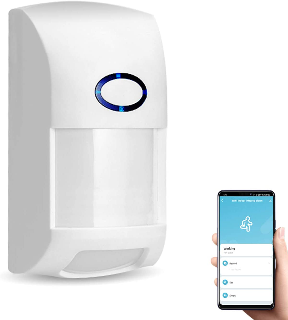 Smart Motion Sensor, WiFi Wireless Security Alarm,with Free Notification Tuya APP Control Home Security PIR Motion Detector, Compatible with Alexa, Siri