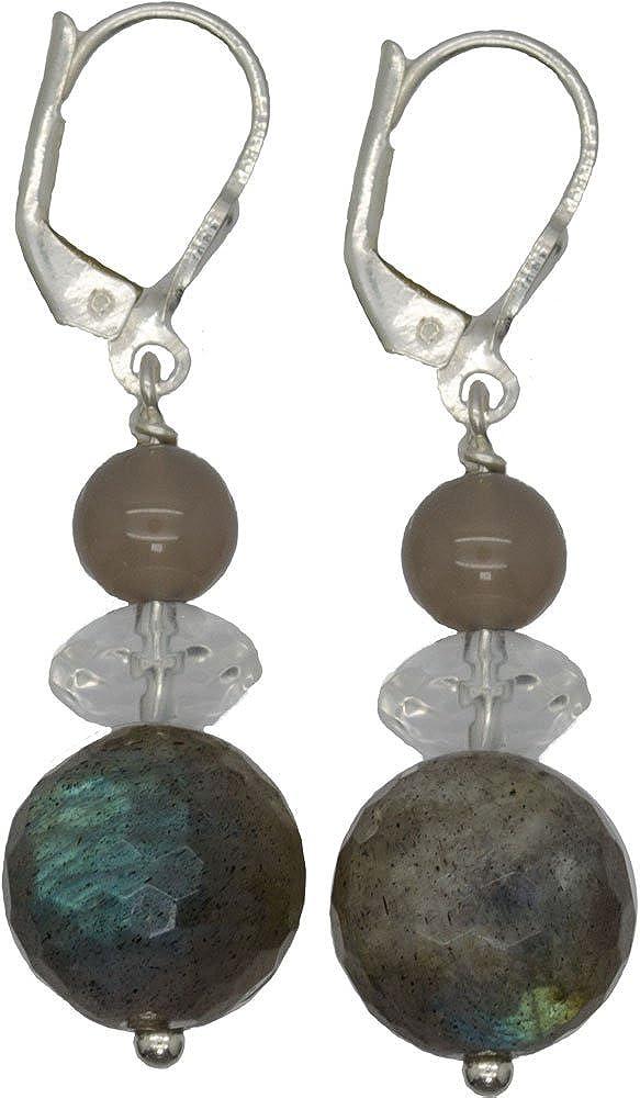 I de Be, Ágata, cristal de roca, Labradorita piedras preciosas pendientes 925Longitud de plata, 4,3cm, en estuche de regalo, 38110125072127