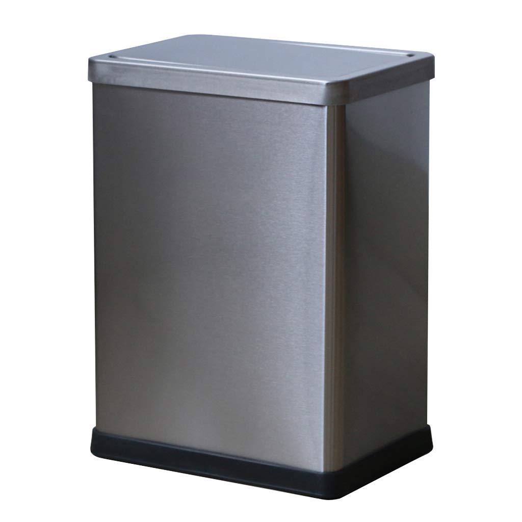 Wghfwx Stainless Steel Shake Cover Trash Can Leather Swing Garbage Bin Household Waste Bin 10L, Office Hotel Living Room Sanitary Bucket