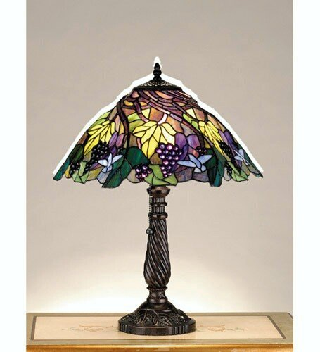 Tiffany Floral Animals Spiral Grape Table Lamp by Meyda Tiffany