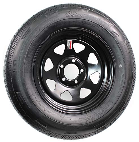 eCustomRim 2-Pack Trailer Tire and Rim Bias Ply ST205/75D14 LRC 5-4.5 Black Spoke Wheel