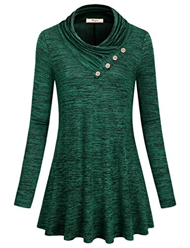A Line Tops for Women,Ladies Maternity Loose fit Lightweight Cowl Neck with Button Blouse Plus Size Mock Turtleneck Soft Comfortable Clothes Knit Tuinc Tops Plain Pullover Desinger Shirt Green XXXL
