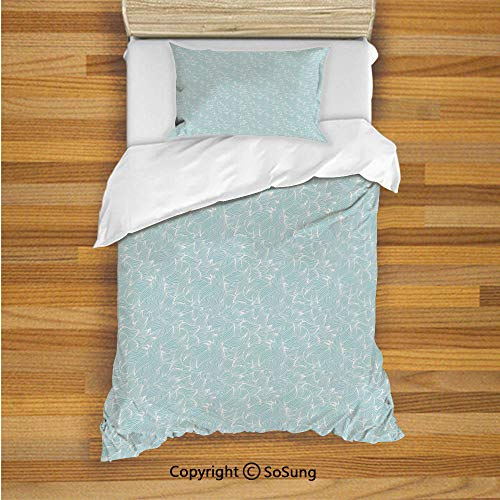 Toned Microfiber Sectional Sofa - Abstract Kids Duvet Cover Set Twin Size, Ocean Inspired Hand Drawn Wave Pattern Lines and Swirls Soft Toned Palette 2 Piece Bedding Set with 1 Pillow Sham,Baby Blue White