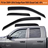 Lightronic Vent Visors Window Deflectors WV94101 Rain Guards for Dodge Ram 1500 (Quad Cab) 2009-2018 Years 4Pcs Set