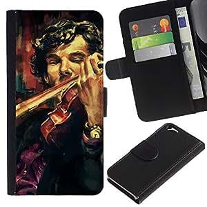 LECELL--Cuero de la tarjeta la carpeta del tirón Smartphone Slots Protección Holder For Apple Iphone 6 -- Holmes violín Pintura --