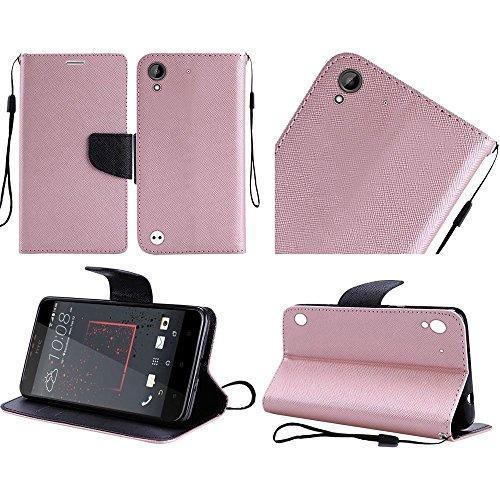 Htc Flip Phone (HTC Desire 530 / 550 / 555 / 630 case, Luckiefind PU Leather Flip Wallet Credit Card Cover Case, Stylus Pen Accessory (Wallet Rose Golden))