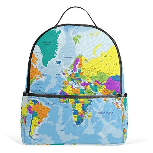 JSTEL Kids Backpack Children's Day Gift Highly Detailed World Map School Backpacks for Boys Girls Bookbags Travel Laptop Bags