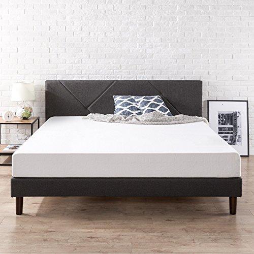 Zinus Judy Upholstered Geometric Paneled Platform Bed with W
