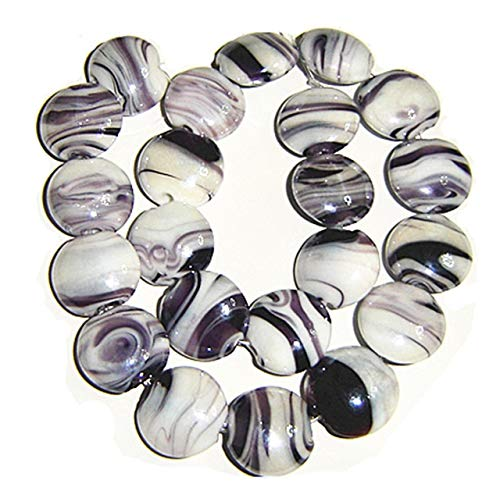 Pukido Puffed Disc Shape Murano Glass Beads,1.5mm Hole for Jewelry Project,22 Pieces per lot, Price - (Color: Black as Photo)