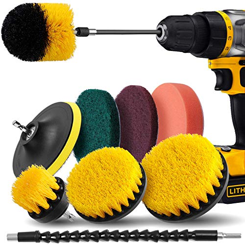 Drill Brush Attachment Set – Drill Brush Power Scrubber 10 Piece, Scrub Pads & Sponge, Extend Long Attachment, Cleaning…
