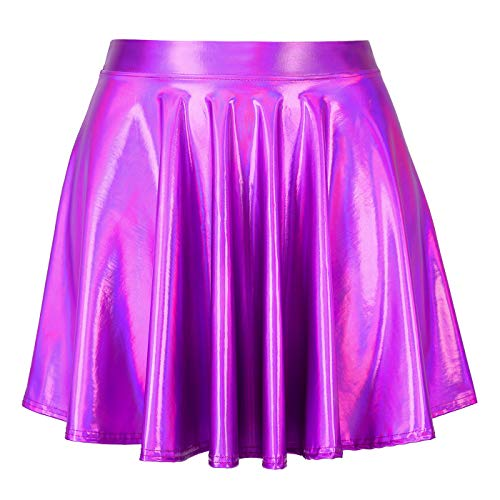 HDE Women's Shiny Liquid Metallic Holographic Pleated Flared Mini Skater Skirt (Fuchsia, Large)]()