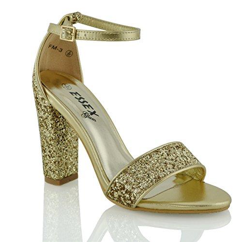 Essex Glam Sintético Sandalias de punta abierta con tira al tobillo y tacón cuadrado Oro Resplandecer