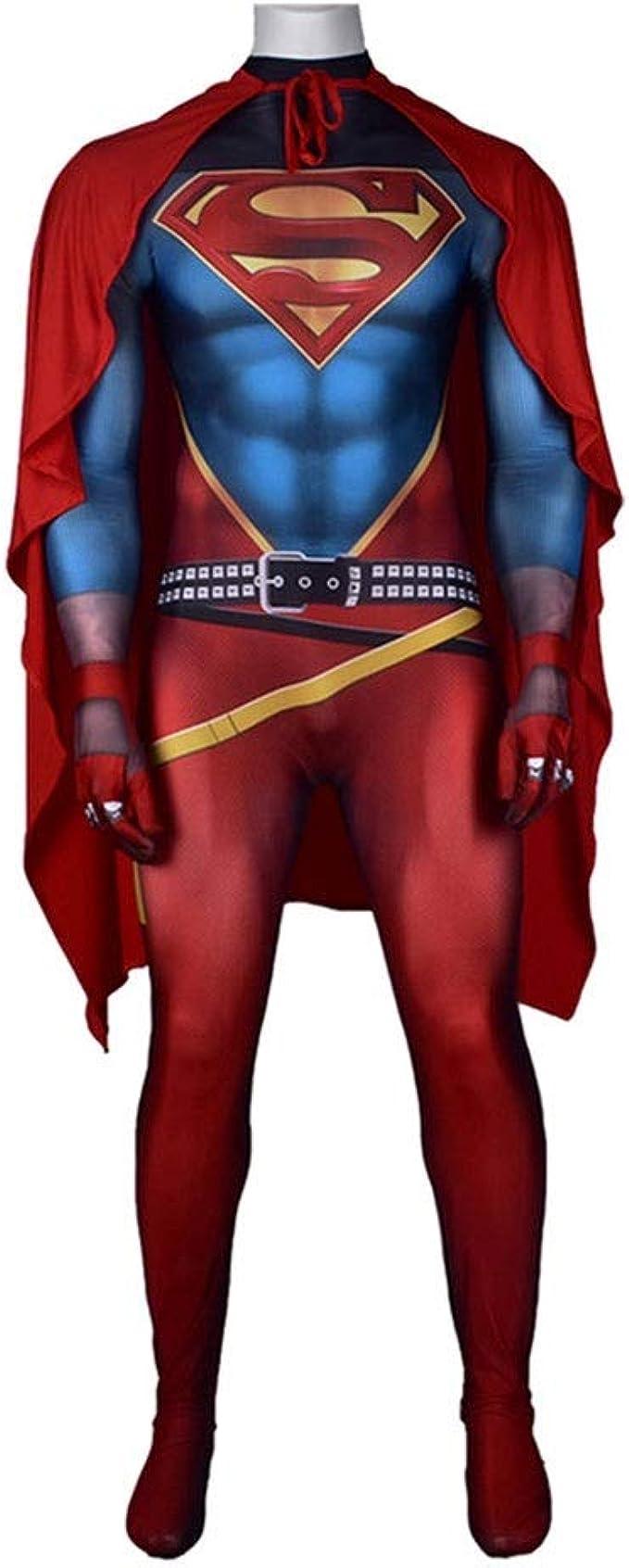 Amimes Costume Cosplay Vestito Di Superman Adult Children Stretta Body Set Con Mantello Di Natale Super Hero Fancy Dress Abbigliamento Color Superhero Size Adul Xxl 175 180cm Amazon It Abbigliamento
