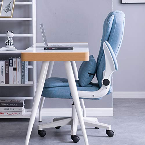 Executive kontorsstol svängbar datoruppgift stol med armstöd, ergonomisk vadderad skrivbordsstol, blå
