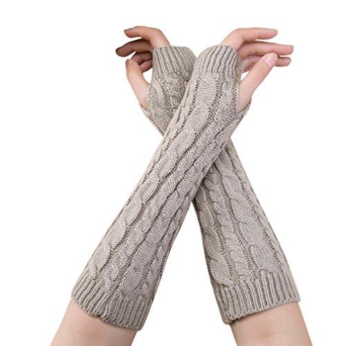 Women Gloves,Haoricu Fashion Winter Wrist Arm Mitten Hand Warmer Long Fingerless Knitted Gloves (Gray 2) (Fashion Women Small)