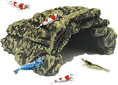 SLOME Decoración de cueva de camarón para acuario – refugio de resina para esconderse o Betta y camarones, bordes suaves con textura y espacioso escondite ...