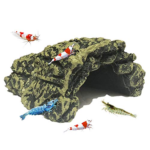 SLOME Aquarium Betta Shrimp Cave Decorations - Resin Comfortable Hideout Shelter Betta Shrimp,Soft-Textured Smooth Edges & Spacious Hideout Betta Fish to Rest Breed