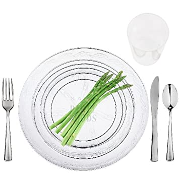 100 Full Table Settings Clear Plates Cups Cutlery u0026quot;WEDDING SPECIALu0026quot; Heavy  sc 1 st  Amazon.com & Amazon.com: 100 Full Table Settings Clear Plates Cups Cutlery ...