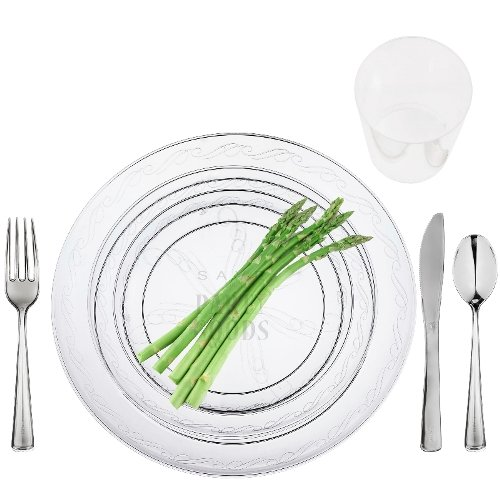 Amazon.com 100 Full Table Settings Clear Plates Cups Cutlery \ WEDDING SPECIAL\  Heavy Duty Disposable Plastic Kitchen \u0026 Dining  sc 1 st  Amazon.com & Amazon.com: 100 Full Table Settings Clear Plates Cups Cutlery ...