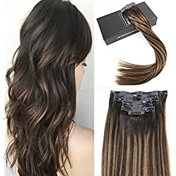 Sunny 7 Pcs 120g 16 inch Balayage Seamless Clip in Extensions Human Hair Darkest Brown Mixed with Medium Brown Lowlight Human Hair Pu Clip Extensions